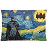 Bedroom Decor Custom Starry Night Van Gogh Batman Pillowcase Rectangle Zippered Two Sides Design Printed 20x26 pillows Throw Pillow Cover Cushion Case Covers
