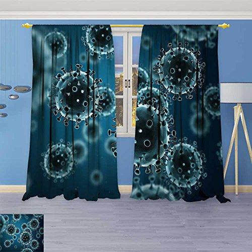 SOCOMIMI Room Darkening Window Curtains, Influenza Virus h n Swine flu Back Tab, Set of Two Panels 120W x 72L inch
