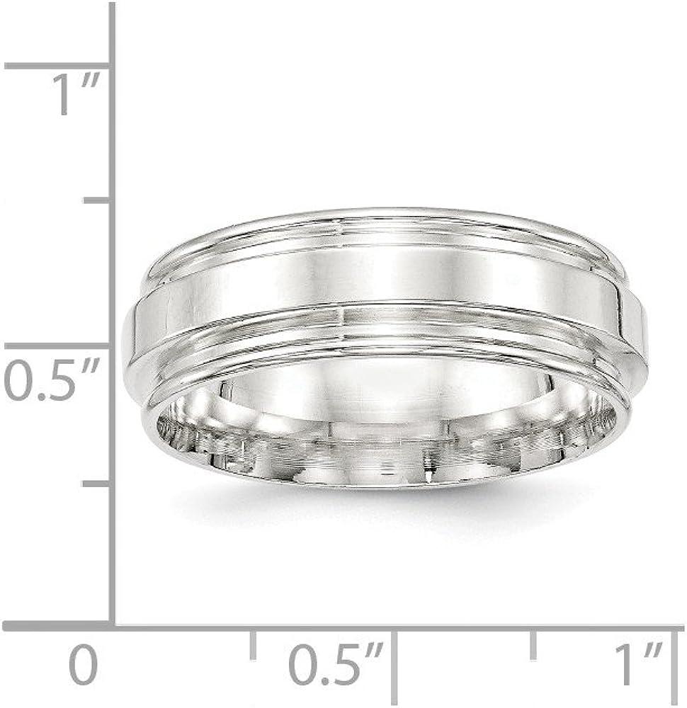 Bridal Wedding Bands Fancy Bands SS 7mm Polished Fancy Band Size 10 Size 13.5