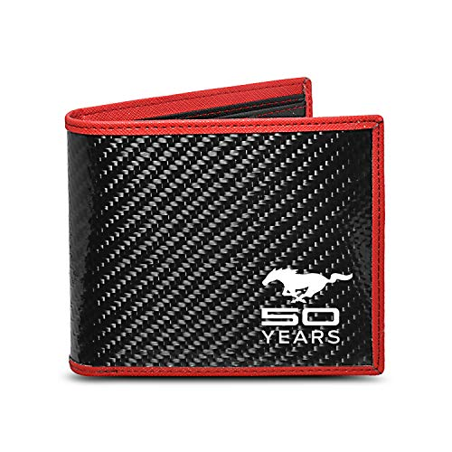 (Ford Mustang 50 Years Real Premium Black Carbon Fiber Wallet with Red Stitched Edge Bi-fold Wallet)
