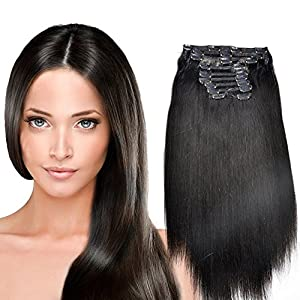 YONNA Remy Human Hair Clip in Extensions Natural Colour #1B Double Weft Long Soft Straight 10 Pieces Thick to Ends Full Head 24inch 220g