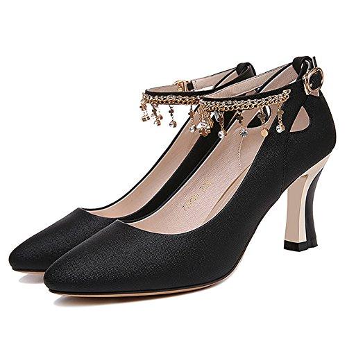 Boucle Talon Escarpins Bout Brillant Inconnu Fermé Bride Strass Cheville Femme Escarpin Noir 36 Mode Chaussure n0Ow8Pk