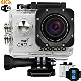 4k Sports Action Camera,SOOCOO C30R Action Camera Waterproof 20MP 170 Degree Wide Angle Sports Video Camera 2 inch LCD Screen/2.4G Remote Control/2 Batteries-Silver(Micro SD Card Not Included)