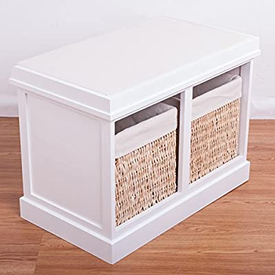 Groovy Btm 2 Seater Wooden Storage Bench Seagrass Wicker Storage Baskets In White 2 Drawers Cabinet Farmhouse Ocoug Best Dining Table And Chair Ideas Images Ocougorg