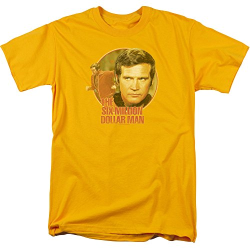 Trevco Men's Six Million Dollar Man Short Sleeve T-Shirt, Gold, Small from Trevco
