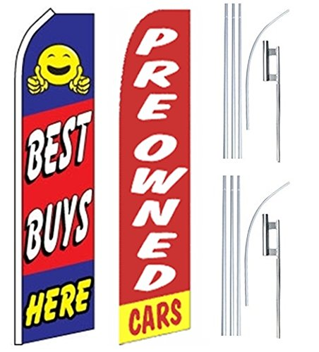Car Auto Dealer Swooper Flutter Feather Flags & Poles 2 Pack-Best Buys-Pre owned by Mission Flags