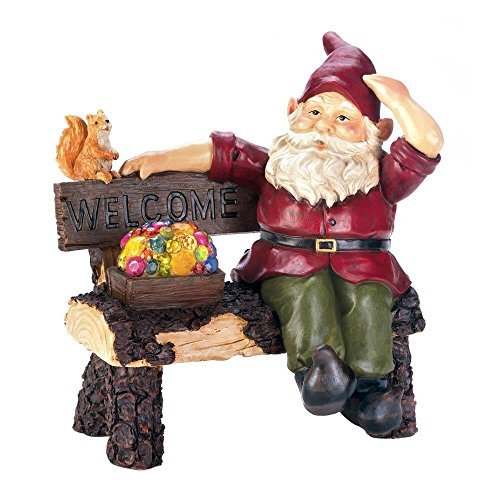 Summerfield Terrace Solar Garden Statue, Gnome On Welcome Bench Small Lawn Solar Yard Figurines ()