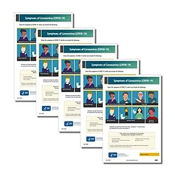 NMC PST176PP Symptoms of Coronavirus (Covid-19) Poster, 18 X 12, Poster Paper, Pack of 5
