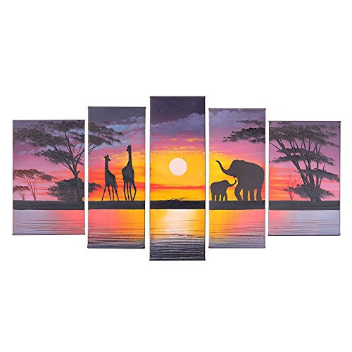 Sun Oil Painting - VASTING ART 5 Panel Oil Paintings Framed Canvas Wall Art, Hand Painted Modern Abtract Art Painting Sunset Elephants Ready to Hang for Bedroom Living Room Wall Decor
