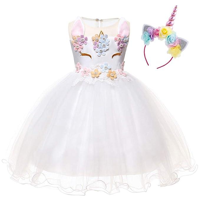 63ec34600629 Costume da Principessa Unicorno per Bimba con Vestito Ballerina Abiti  Bambini Halloween Abito con Orecchie Carnevale Festa di Primo Compleanno  Cerimonia ...