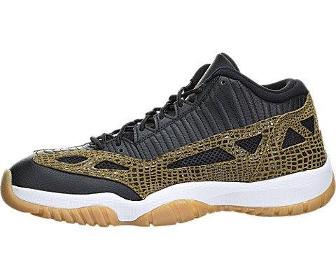 Jordan Mens 11 Retro Low Black/Gum Yellow/Infrared 23/Militia Gre 306008-013 (Mens Militia Shoe)