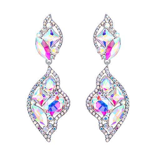 BriLove Women's Wedding Bridal Crystal Leaf-Shaped Multi- Rhinestone Dangle Earrings Iridescent Clear AB Silver-Tone (Leaf Shaped Rhinestone)