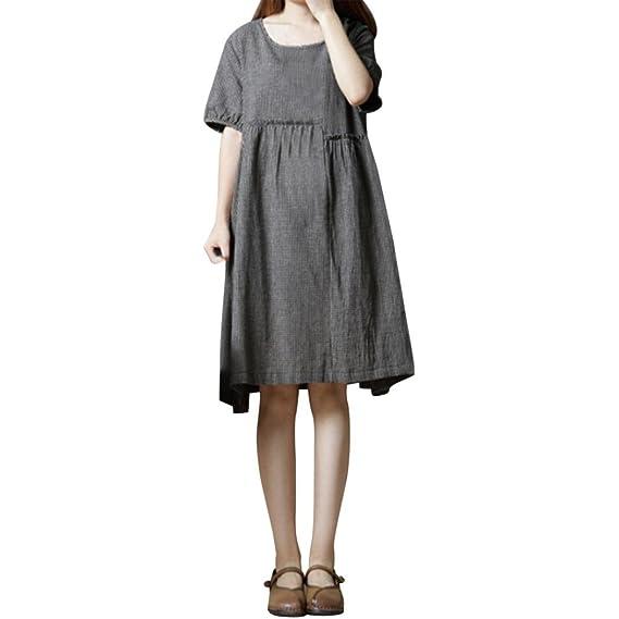 amuster para vestidos de mujer mujeres vestido de verano Lino Algodón Plaid Mini vestido Plus Tamaño