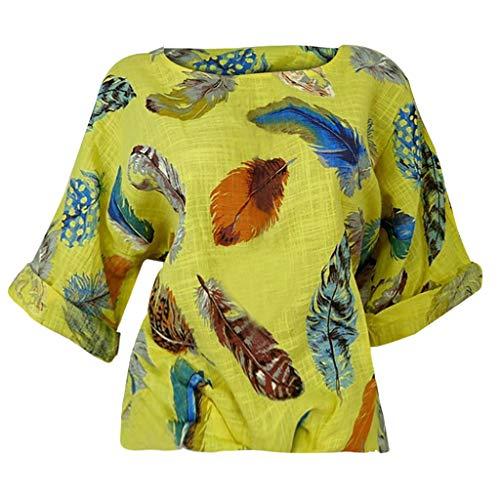 POQOQ Blouse Women Plus Size Feather Print Three Quarter Sleeve O-Neck Pullover Shirt(Yellow,M) ()