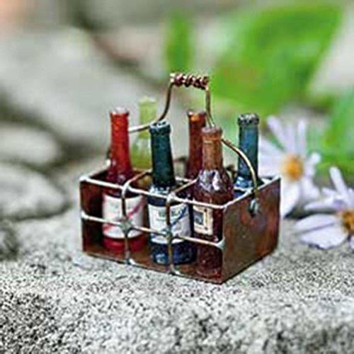 - Miniature FAIRY GARDEN Wire Basket with Wine Bottles NEW