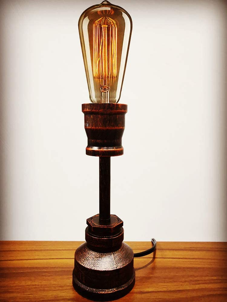 YUANKANG Vintage Table Lamp, Retro Desk Lamp, Antique Industrial Alloy Metal Water Pipe Steampunk Lamp, Industrial Lamps E26 Bedrooms Bedside Living Room Cafe Bar House Decor (Edison Bulb Not Include)