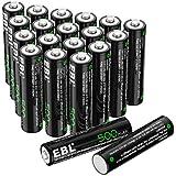 EBL AAA Rechargeable Batteries, 1.2V 500mAh NiCd Battery Pack for Solar Lights, Garden Lights, Landscape Lights, Solar Pathway Lights, 20 Pack