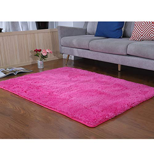 Hot Pink Carpet (YJ.GWL Soft Shaggy Rug for Bedroom Girls Room Kids Children Non-Slip Living Room Nursery Rugs Carpets Floor Home Decor 4 x 5.3 Feet (Hot)