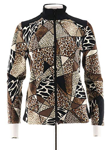 Susan Graver Weekend Printed French Terry Zip Jacket A279788, Neutral, XS