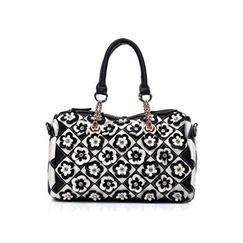 (Women's Soft Lambskin Leather Satchel Multicolor Flower-art Crossbody Tote Bag)