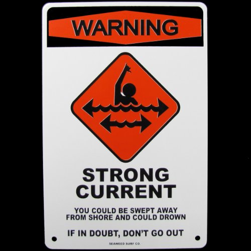 Warning Strong Current Danger No Swimming Beach Sign Ad