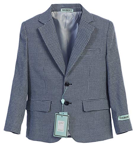 Gioberti Boys and Kids Lightweight Spring Houndstooth Blazer Jacket, Navy, Size 12 ()