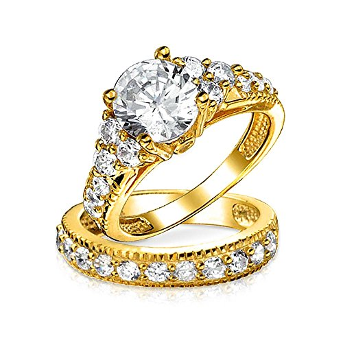 3 CT Round Solitaire Side Stones AAA CZ Pave Wedding Band Engagement Ring Set 14K Gold Plated 925 Sterling ()
