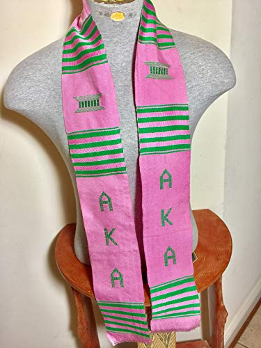 Authentic Alpha Kappa Alpha AKA Graduation Kente Stole Scarf from ()