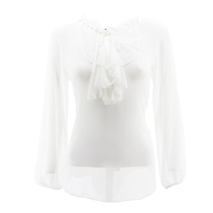 Blusas de Gasa de Las Mujeres Perlas Elegantes de la Camisa Corbata Camisa Blanca Llana Un