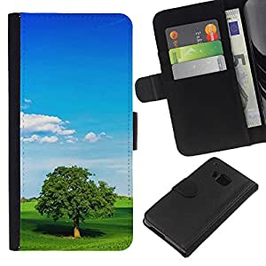 Planetar® Modelo colorido cuero carpeta tirón caso cubierta piel Holster Funda protección Para HTC One M7 ( Nature Lonely Tree )