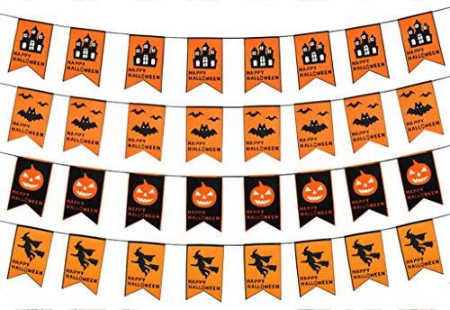 Halloween Party Decoration Banner Garland Dual-Layer Flag with ''Happy Halloween'' (Halloween Home Decorations Pinterest)