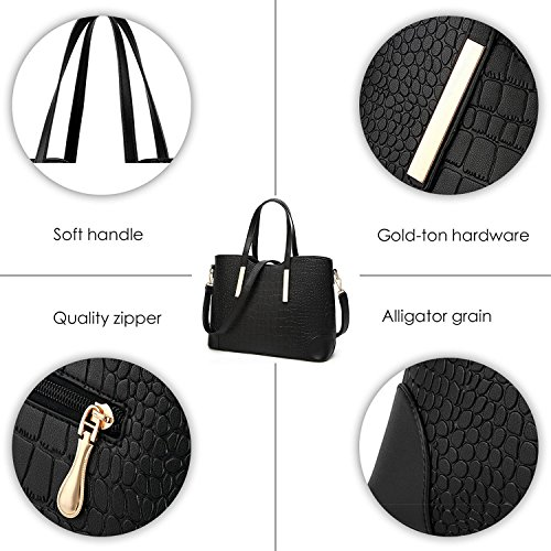Satchel Handbag Leather Purse Sets for Women Satchel Purse Tote Bag Top handle Handbag Set Shoulder Bag Purse and Wallet(Black) by LIKE IT LOVE IT (Image #6)