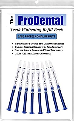 ProDental Teeth Whitening Gel Syringe Refill Pack, 35% Carbamide Peroxide, 48+ Treatments - Faster Results Than Tooth Whitening Strips, Pen, Powders and Toothpaste. Safe for Sensitive Teeth