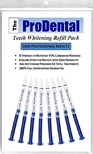 ProDental Teeth Whitening Gel Syringe Refill 8 Pack, 35% Carbamide Peroxide, 48 Treatments - Faster Results Than Tooth Whitening Strips, Pen, Powders and Toothpaste. Safe for Sensitive Teeth ()