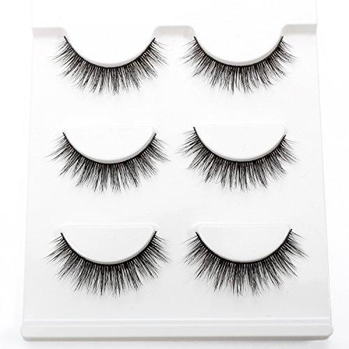 3D False Eyelashes Beautyorigin Fake Eye Lashes Cruelty-free CrissCross Natural Looking Handmade Reusable Makeup Black Fake Eyelashes 3 Pairs One Pack (Style - Lashes Fake Eyelash False