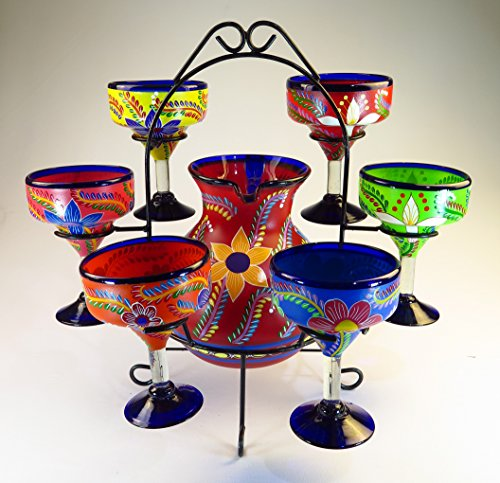 (Mexican Margarita Glasses & Pitcher set with display rack, Hand Blown, Hand Painted, mixed colors w/various flowers, 14 OZ)