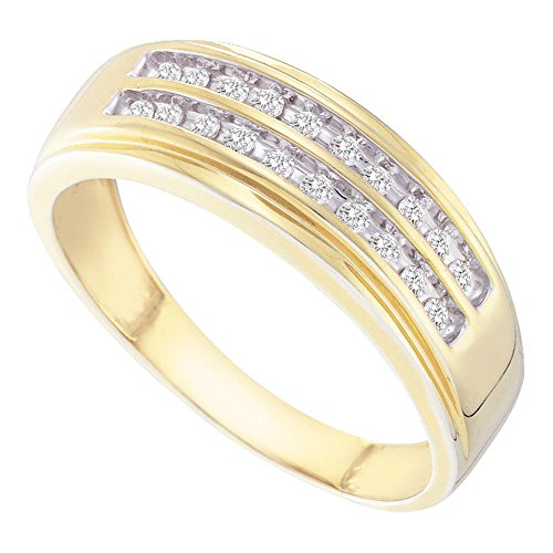 Sonia Jewels Size 10-14k Yellow Gold Mens Round Diamond 2-Row Wedding Anniversary Band Ring (1/4 Cttw)