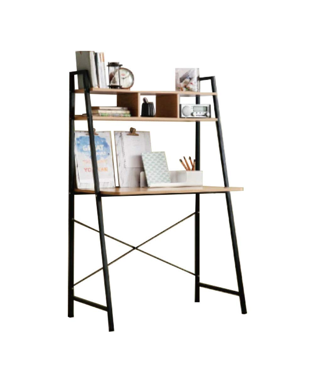 Offex Home Office Black Ladder Steel Frame Desk with Wooden Bookcase Above by Offex