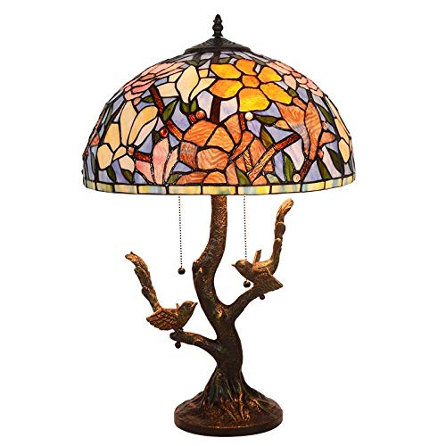 BEAR&MH 21-inch Tiffany Style Table Light, European Vintage Art Magnolia Table lamp with Resin Base and Stained Glass, Bedroom Coffee Table Living Room Desk Bedside Light 60W E27