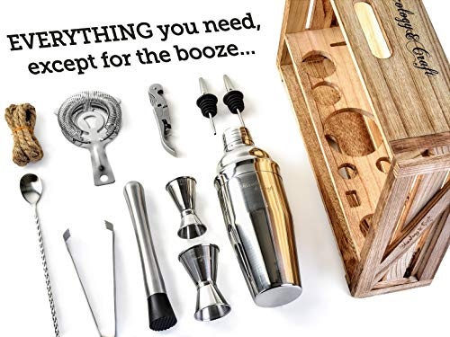 Mixology Bartender Kit: 11-Piece Bar Tool Set with Rustic Wood Stand - Perfect Home Bartending Kit and Cocktail Shaker Set For an Awesome Drink Mixing Experience - Exclusive Cocktail Recipes Bonus by Mixology & Craft (Image #1)