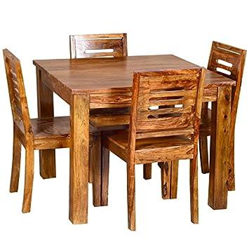Elegant 4 Seater Rectangular Dining Table Set Mahogany Finish