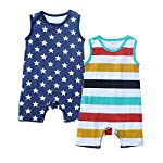 Kadambaby- Premium Set of 2 Baby Summer Bodysuits and one Piece Romper. Soft 100% Cotton Fabric for All Day wear (0-3…