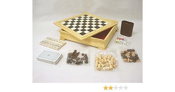 Desconocido MULTIJUEGOS DE Mesa AJEDREZ Damas Domino Cartas BARAJA Dados Backgammon: Amazon.es: Hogar