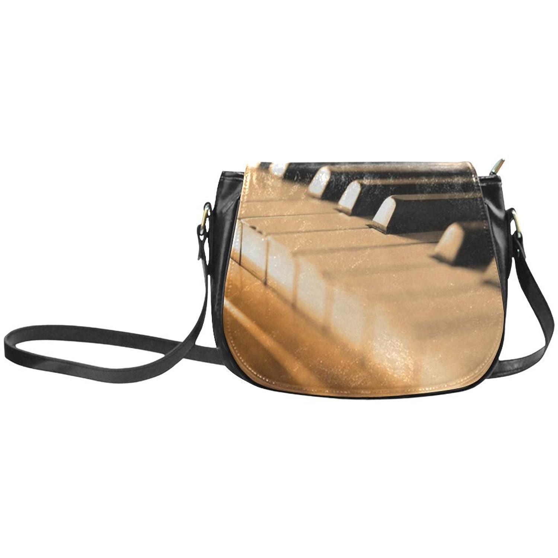 meincare Women's Retro Piano Keys PU Leather Classic Saddle Bag
