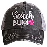 Katydid Beach Bum Women's Distressed Grey Trucker Hat (Pink)