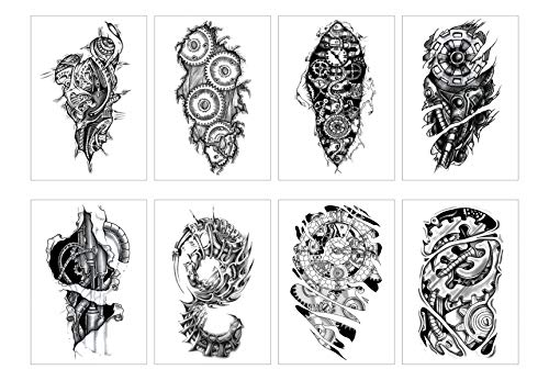 GGSELL 8 Sheets Temporary Tattoos Stickers Half Arm Chest Tattoo Men Tribal Totem Tattoo Make up Body Art Sticker for Halloween Party Supplies Beach Pool -