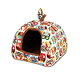 UEETEK Detachable Dog Cat Cave Bed House Tent Bunny Ears Soft Warm Dog Basket Cushion size L