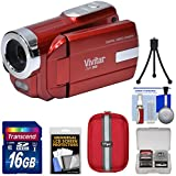 Vivitar DVR-508 HD Digital Video Camera Camcorder (Red) 16GB Card + Case + Tripod + Kit