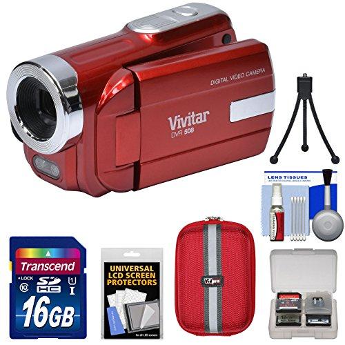 Vivitar DVR-508 HD Digital Video Camera Camcorder (Red) with 16GB Card + Case + Tripod + Kit by Vivitar