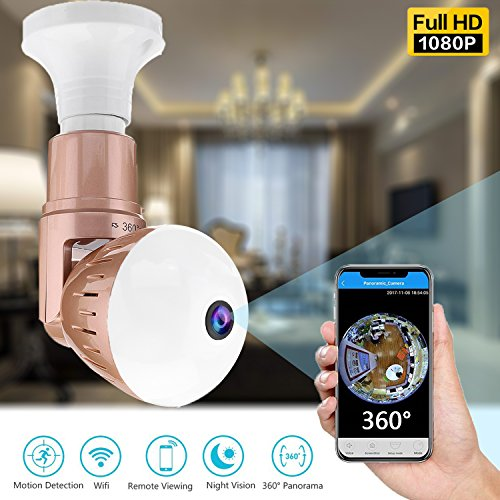 360 Panoramic Bulb WiFi Camera - 1080P Dome Hidden Security Surveillance Cameras 180 Degree Rotate Wireless Cam Night Vision Motion Detection Pet Baby Webcam for Outdoor Indoor (01 Bulb Camera)